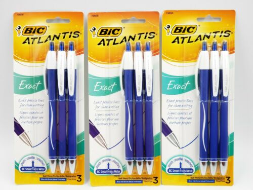 3 Packages Bic Atlantis Exact Fine Point Ball Pens NEW 3 Count Each Blue Ink