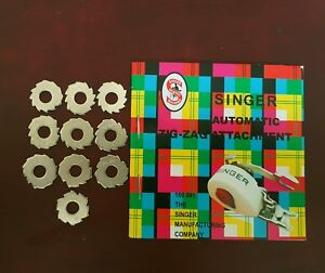 Singer-Sewing-Machine-Automatic-Zig-Zag-attachment-Cams-x-10-with-book