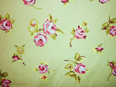 FQ VINTAGE ROSE BLOSSOM FLOWERS FABRIC RETRO GREEN SHABBY CHIC