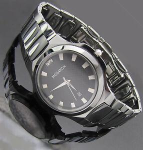 Monarch Luxus Tungsten Wolfram Echt Diamanten Herren Armband Uhr