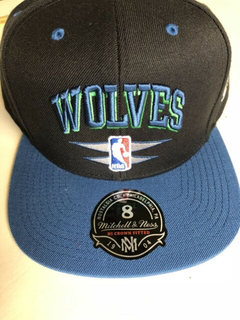 sale retailer f5b61 f6bc2 BLACK BLUE Minnesota Timberwolves Baseball Hat Cap Sz 8 Fitted NWT-MITCHELL  NESS
