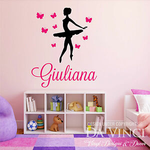 Image Is Loading Personalized Name Ballet Ballerina Butterflies Dance Vinyl  Decal