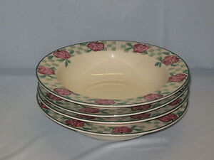 4-Tienshan-Stoneware-Salad-Soup-Bowls-8-034-Diameter-Red-Apple-Country-Check-DH33
