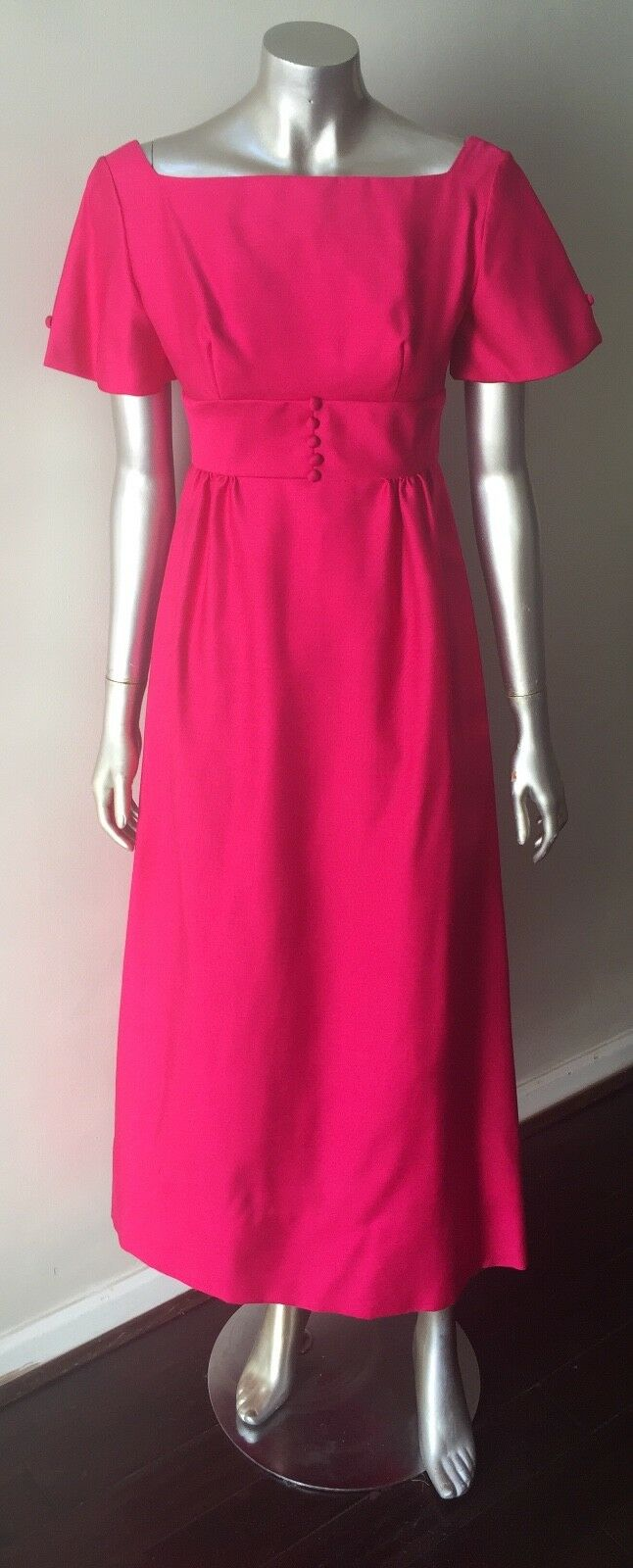 Mod Gogo Taffeta Vintage 60s Silk Wool Prom Pinkness Party Bow Dress Size Xs