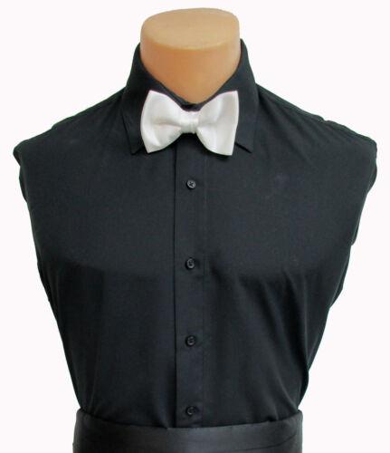 Black Microfiber Laydown Collar Dress//Tuxedo Shirt Wedding Prom Mason Halloween