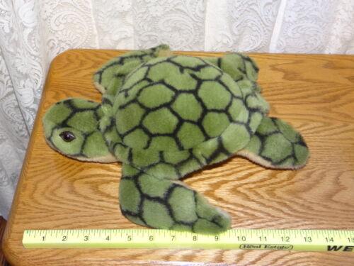 "Vintage Green Sea Turtle 12"" Toy Plush Stuffed Animal Worn out tush tag."