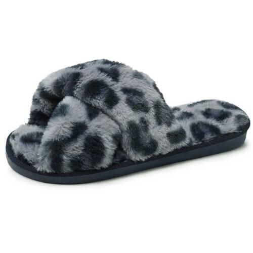 Women Leopard Print Faux Fur Fluffy Flat Slipper Ladies Slip On Lounge Shoes UK