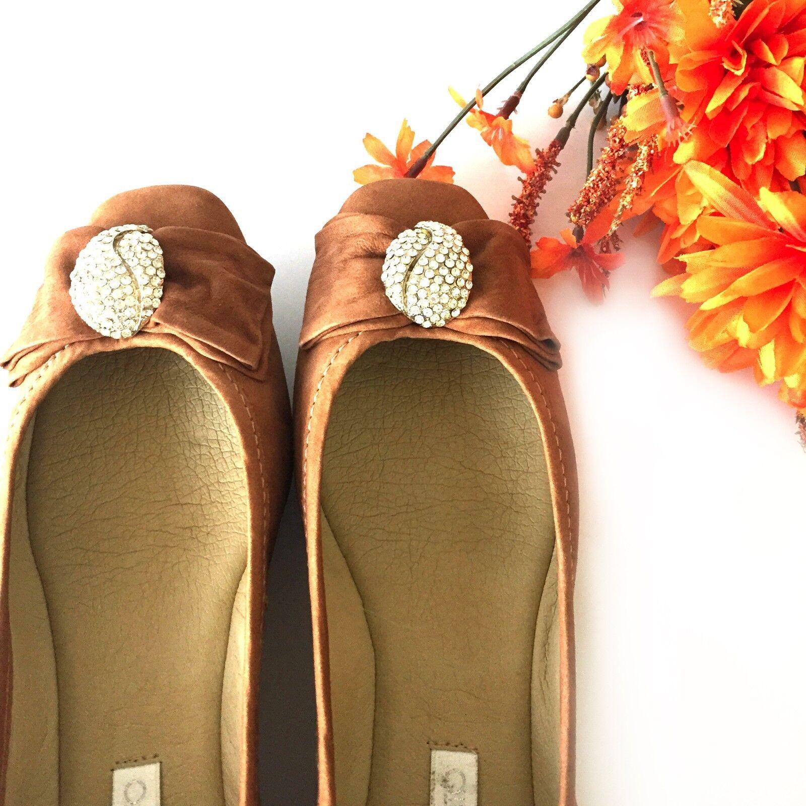 Leather Ballet Flats scarpe Camel Nobuck Cowhide Brazil Comfortable Crystal