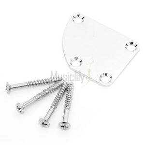 Musiclily-Chrome-4-Holes-Curved-Neck-Plate-with-Screws-For-Electric-Guitar-Bass