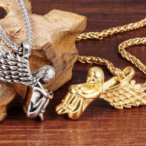 Women Cross Chain Goddess Fairy Wings Pendant Dropper Necklace Jewelry LH