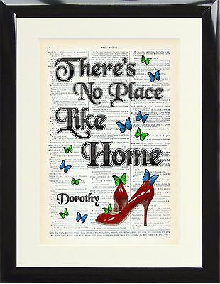 Wizard of Oz Original Dictionary Page Art Print Dorothy No Place Like Home Gift