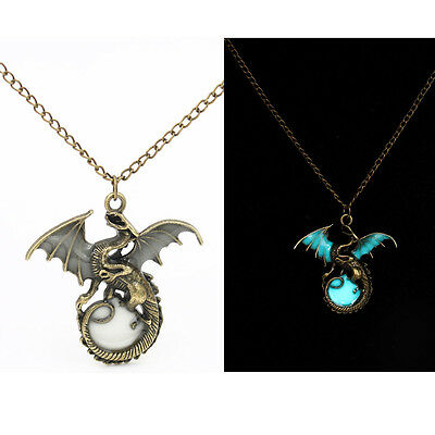 Mens Glow in the Dark Retro Dragon Pendant Necklace Silver Chain Jewelry yj