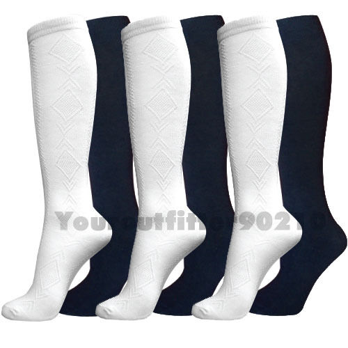 12 Pairs 9-11 Knee High School Socks Diamond Pattern White Teenager Girl /& LADY
