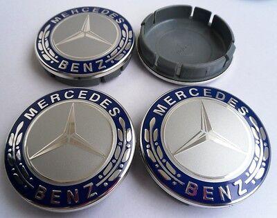 Mercedes Nabendeckel Schwarz 60mm Emblem Felgendeckel Nabenkappen Radkappen NEU
