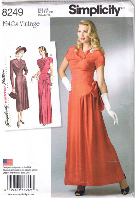 Simplicity 8249 Vintage Repro Gown And Dress Pattern 1940s Size 14