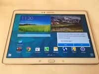 Samsung Galaxy Tab S SM-T805 16GB, Wi-Fi + 4G/LTE Unlocked-10.5in- White-GOOD