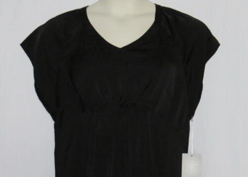 Maternity Top SMALL Black Satin Blouse NEW a glow NWT Empire Waist Shirt S 4 6