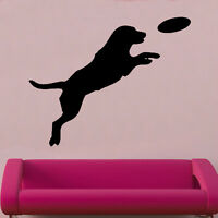 Dog & Frizby Decal Vinyl Wall Sticker Animal Birds Living Room décor Kids