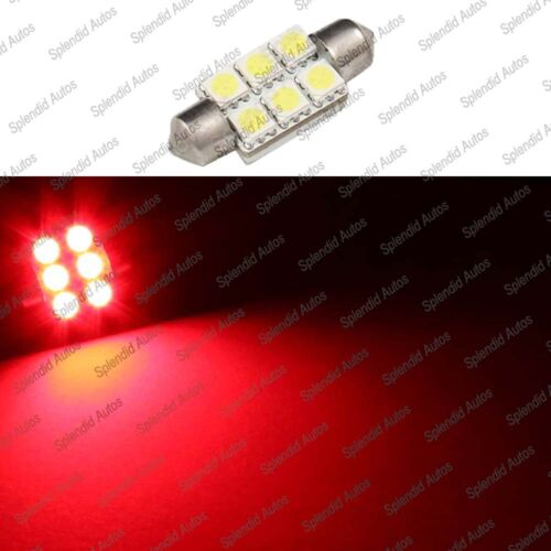 36mm 6411 Brillant Red LED License Plate Light Bulbs 6-SMD Festoon 1 Piece