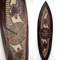 Deko Surfboard Mit Uhr, Holz Surfbretter, Geschnitzt 50cm U. 60cm, Wanduhr Neu