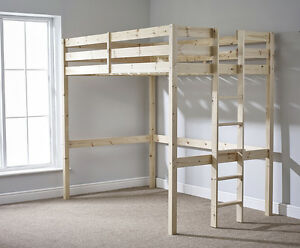 Loft Bunkbed Double 4ft 6 Solid Pine High Sleeper Bunk Bed Heavy