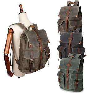 097899a8025d Retro Oil Wax Canvas Outdoor Sports Travel Bag Backpack Rucksack ...