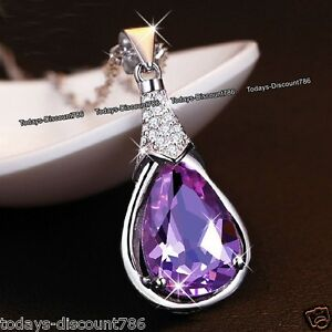 MOTHERS-DAY-925-Silver-Amethyst-Crystal-Necklace-Gift-For-Her-Mom-Mum-Wife-Women