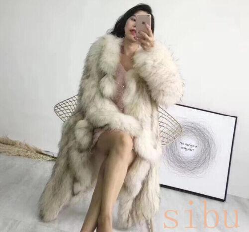Luxury Women/'s Long Lapel Fox Fur Collar Coat Parka Jacket Outwear Winter Xmas