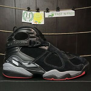 891d6fb71 Nike Air Jordan 8 Retro Bred Black Cement Gym Red Wolf Grey 305381 ...