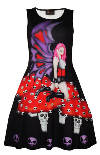 Women/'s Unique Gothic Dark Fairy Skulls Halloween Sleeveless Skater Dress Goth