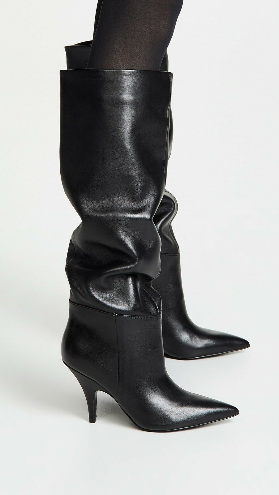 Kendall & Kylie calla Slouchy botas botas botas en Cuero Negro Tamaño 8.5M  apresurado a ver