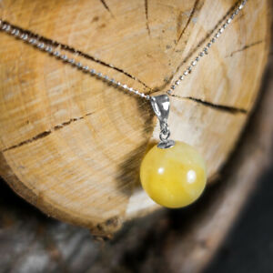 Natural Baltic Amber Necklace White Amber Stone Classic Ball Silver Pendant