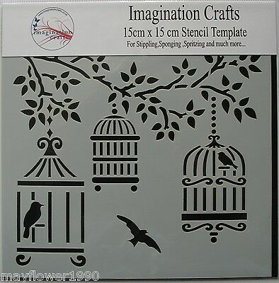 "Imagination Crafts MASK Stencil template 6"" x 6"" (15cm) VINTAGE BIRD CAGES"