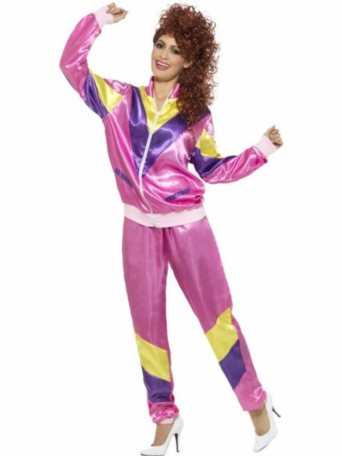 Womens 80s Height Of Fashion Pink Shell Suit Tracksuit 1980s Ladies 80/'s Costume