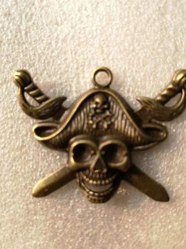 5-10pcs ANTIQUE GOLD PIRATE SKULL /&CROSS SWORDS PENDANTS HALLOWEEN,GOTHIC,EMO