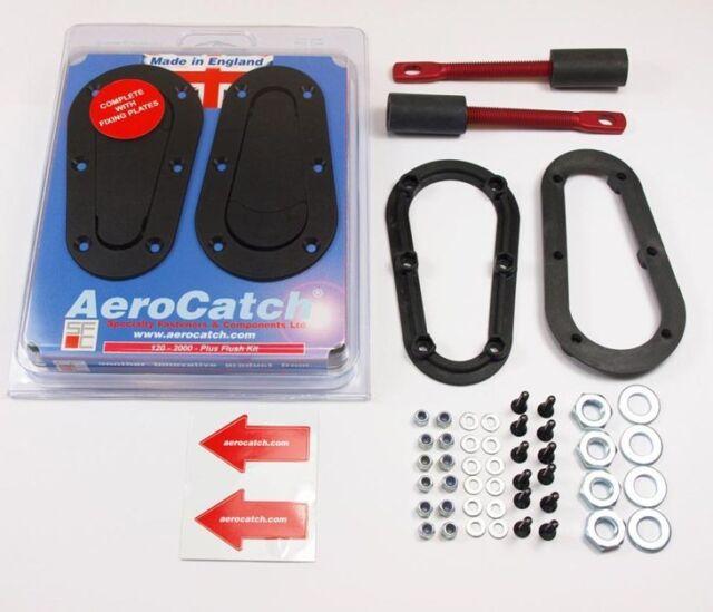 Black AeroCatch 125-2000 Flush Non-Locking Hood Latch and Pin Kit