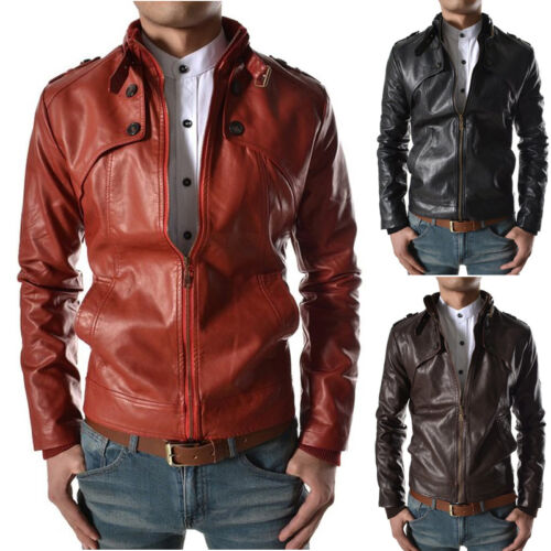 ★Giacca Giubbotto Uomo in di PELLE 100/% Men Leather Jacket Veste Homme Cuir Q67e