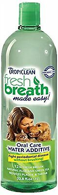 Tropiclean Fresh Breath Plaque Remover Pet Water Additive 33.8oz, New