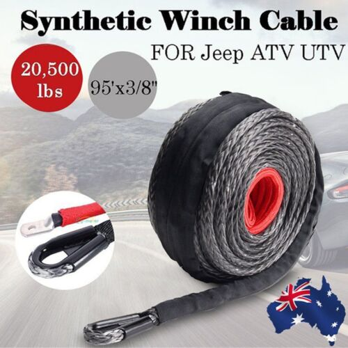 9.5mm*28m Synthetic Winch Line Cable Rope 20500LBs Hook Hawse Fairlead LOGF