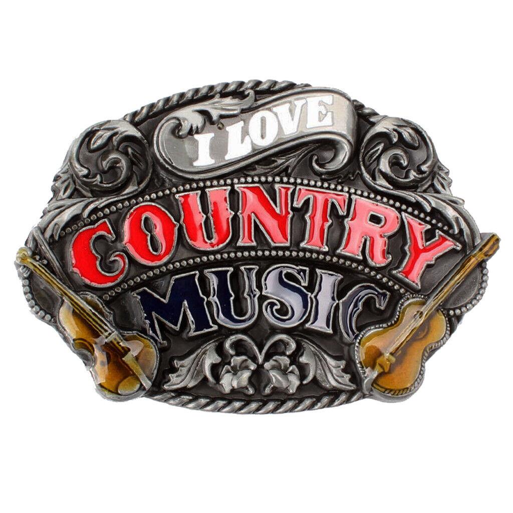 Western Country Gürtelschnalle Musik Gitarre Metall Cowboy Cowgirl Classic