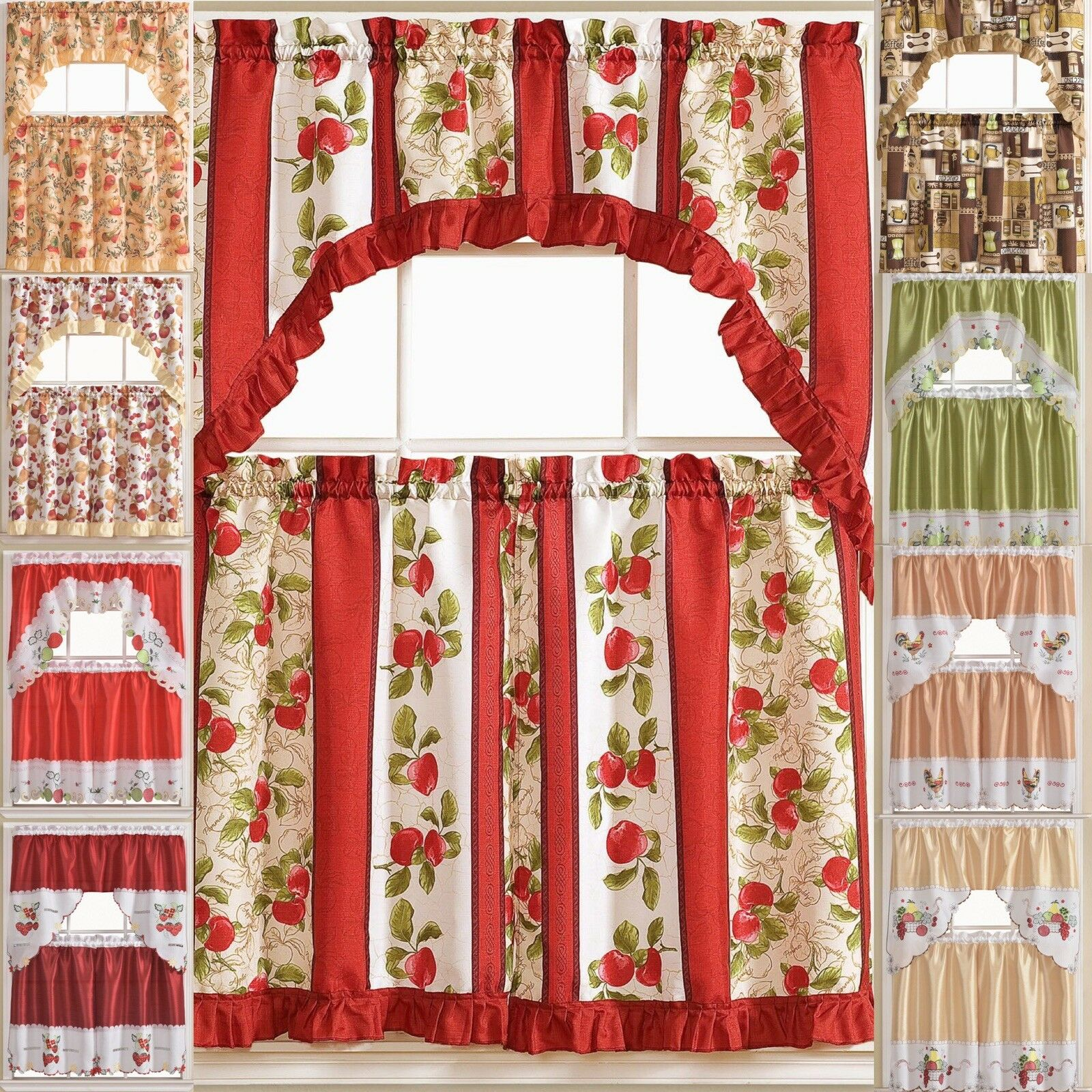 Embroidered Ladybug Meadow Kitchen Curtains 24 Tier Swag Valance Set For Sale Online Ebay