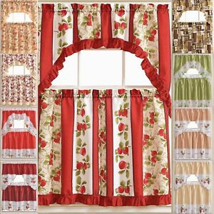 Kitchen Curtains 3 Pc Set With Attached Valance Tier And Swag Set Red Brown Ebay