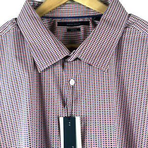 Perry-Ellis-Mens-S-S-Red-Blue-Geometric-Shirt-W-Stretch-Cotton-Stretch-Sz-XL-69