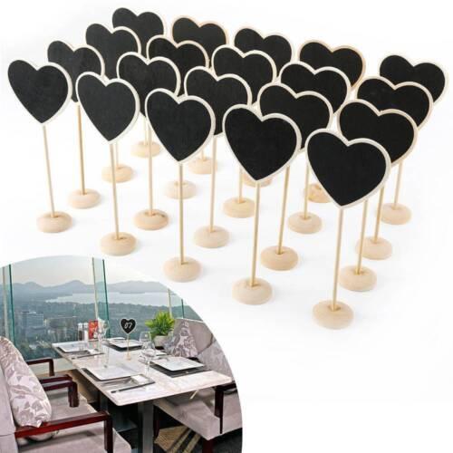 5Pcs Wedding Table Decor Wooden Heart Shaped Blackboard Chalkboard Message Board