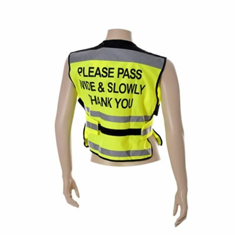Equisafety 'Please Pass Wide and Slow' Waistcoats-Yellow-Small 30-34 Chest-BN