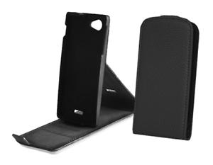 Housse Etui Coque SLIM (Cuir Noir Grainé) ~ LG Optimus L5 (E610)