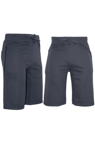 Mens Plain Side Zip Pockets Jog Sweat Running Summer Gym Fleece Bottoms Shorts