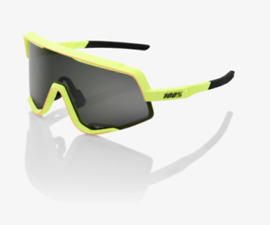 100% GLENDALE Soft Tact Washed Out Neon Yellow Sunglasses, Smoke Lens