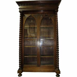 19th century french gothic revival walnut bookcase with glass image is loading 19th century french gothic revival walnut bookcase with planetlyrics Choice Image