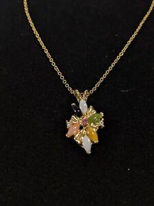 Vintage Gold Tone Green Black Peach Gemstone Cluster Necklace 10892